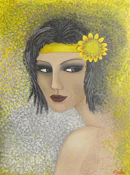 Girl With Yellow Flower by Dalia Gatautiene