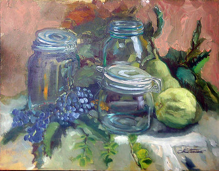 Glass with Pears by Larry Christensen