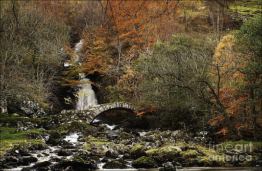 Glen Lyon Falls and Pack Bridge Scotland by George Hodlin