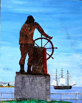Bill Hubbard - Gloucester Harbor - US Frigate Constitution and Man at the Wheel