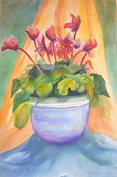 Gloxinias In A Bowl by Linda L Stinson