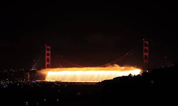 Golden Gate Bridge 75th Anniversary Fireworks Flowing by Pamela Rose Hawken