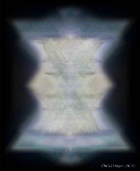 Golden Light Chalices Emerging from Blue Vortex Myst by Christopher Pringer