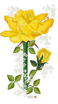 Golden Rose and Bud With Baby Breath Flowers by Anne Norskog