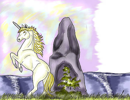 Golden Unicorn by the Sea by Sarah Reed