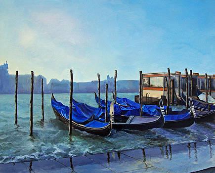 Gondolier Dock Venice Italy by Jean Rascher