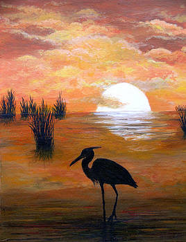 A Heron Says Grace at Sunset by Amy Scholten