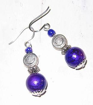 Grape and Bali Swirl Earrings by Elizabeth Carrozza