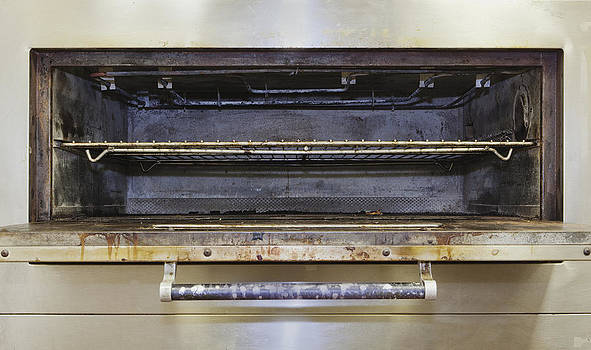 Greasy Electric Stove Oven Door Open by Douglas Orton