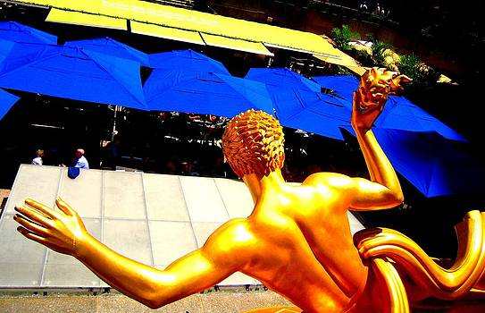 Greek God Waving At Rockefeller Center Tourists by Don Struke