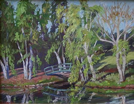 Green Bridge and Birches by Roseann Berluti