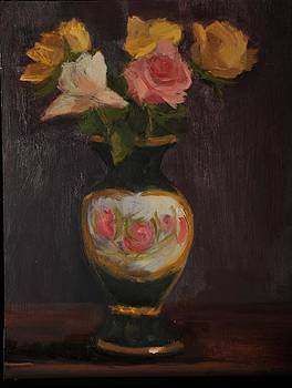 Green Vase With Roses by Joyce Colburn