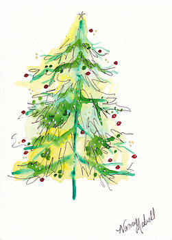 Green Watercolor Christmas Tree by Michele Hollister - for Nancy Asbell