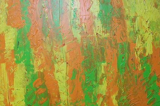 Green Yellow Orange Abstract by Patricia Campbell
