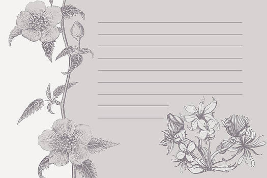 Grey Floral Card by Dana Vogel