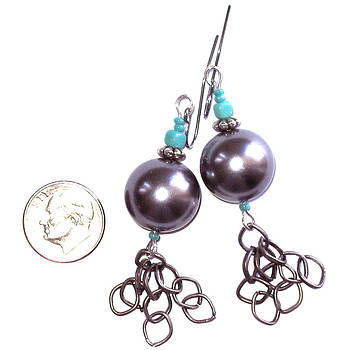 Grey Pearl and Gun Metal Earrings by Elizabeth Carrozza