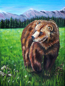 Michelle Wrighton - Grizzly Bear in field of Flowers Painting