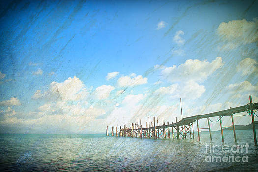 Grunge paper and sea landscape view for general background by Jantima  Cha