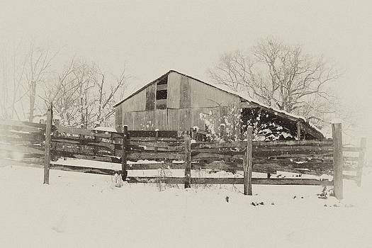Hall barn in snow by Russell Christie