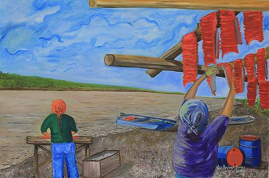 Hanging Salmon on the Yukon River by Amy Reisland-Speer