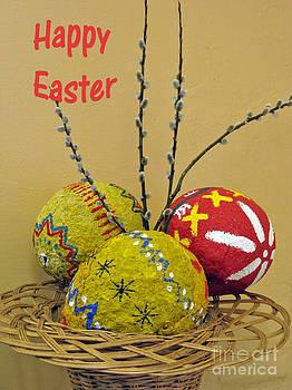 Happy Easter greeting. Papier-mache by Ausra Huntington nee Paulauskaite