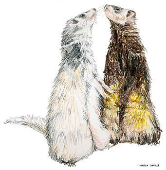 Happy Ferrets by Marla Saville