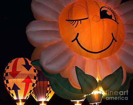 Happy Flower Hot Air Balloon by Jeanne  Woods
