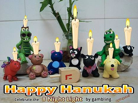 Happy Hannukah Greeting Card From Oyvey.co.il by Yasha Harari