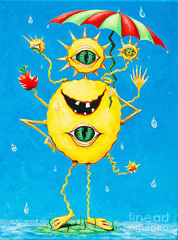 Happy monster in the rain by Melle Varoy