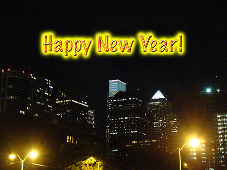 Mother Nature - Happy New Year Greeting Card - Philadelphia at Night