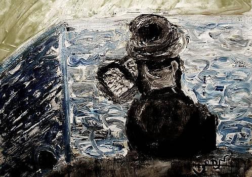Hassid Rabbi Praying at Kotel Western Wall Israel Jerusalem Gold Daven Religious Jewish Cultural by M Zimmerman