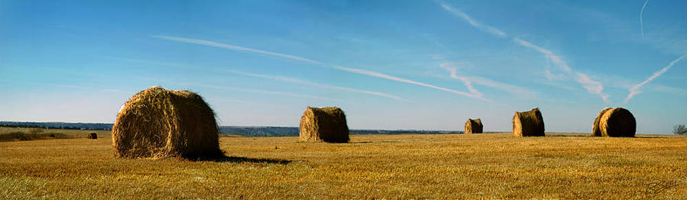 Haybales and Jet Trails by Rod Seel