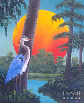Heron at Sunset by Michael Allen