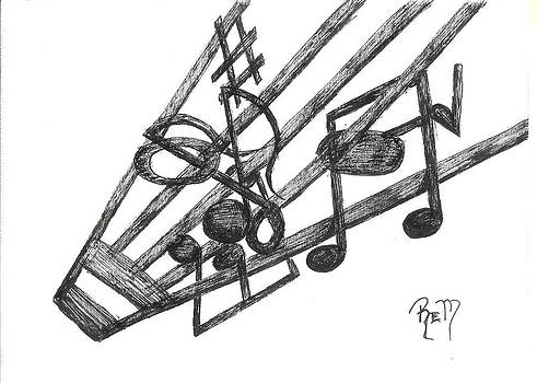 Hiding Among The Notes - Sketch by Robert Meszaros