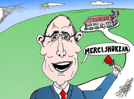 Hollande Thanks Immigration cartoon by Yasha Harari