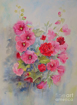 Hollyhocks and red roses by Beatrice Cloake