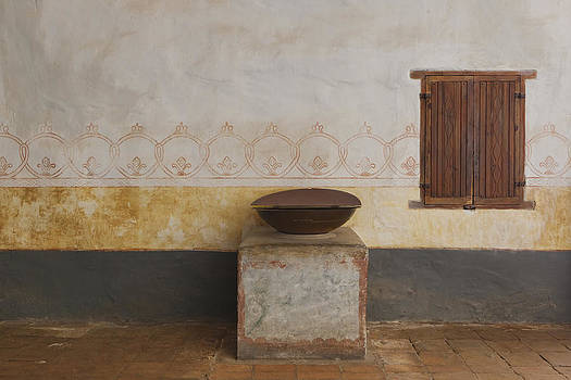 Holy Water Font At  Mission La Purisima by Douglas Orton