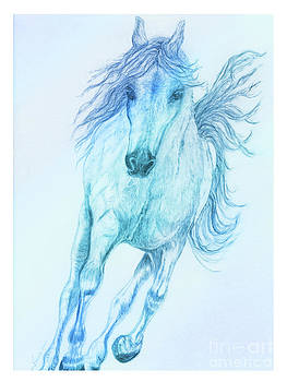 Hoof Beats Blue 1 by Teresa Vecere