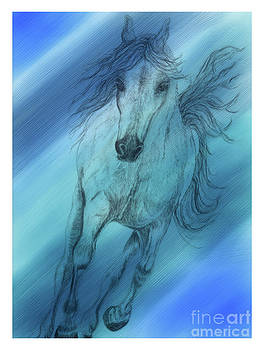 Hoof Beats Blue II by Teresa Vecere