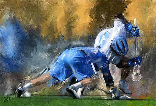 College Lacrosse Faceoff 3 by Scott Melby