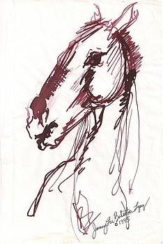 Horse Sketch in Sepia by Jamey Balester