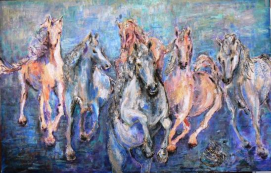 Horses on blue by Baruch Neria-Kandel