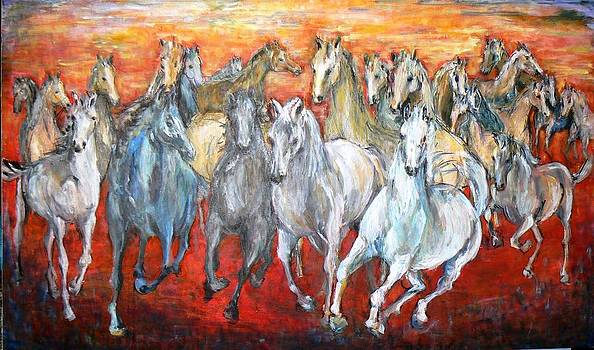 Horses on red by Baruch Neria-Kandel