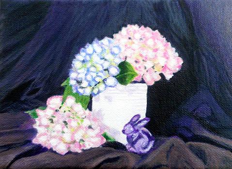 Hydrangea and bunny by Anke Wheeler