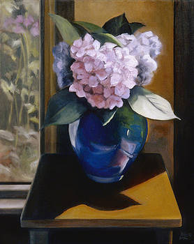 Hydrangeas in a Blue Glass Vase by Mary Gingrich