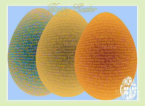 I Declare World Peace - Decorative Eggs Easter Card by RC Gelber