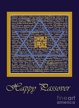 I Declare World Peace Blue Passover Card. by RC Gelber
