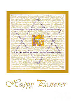 I Declare World Peace Passover Card in white and gold by RC Gelber