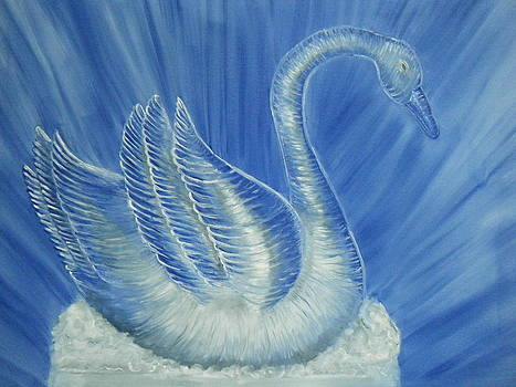 Ice Swan  Sculpture by Nancy L Jolicoeur