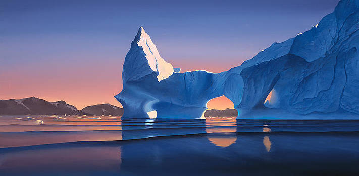 Cliff Wassmann - Icebergs at sunset